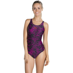 speedo Boom Allover Muscleback Swimsuit Women, black/electric pink